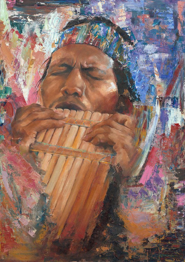 Art painting - Song of the Panpipes - Oil on Board