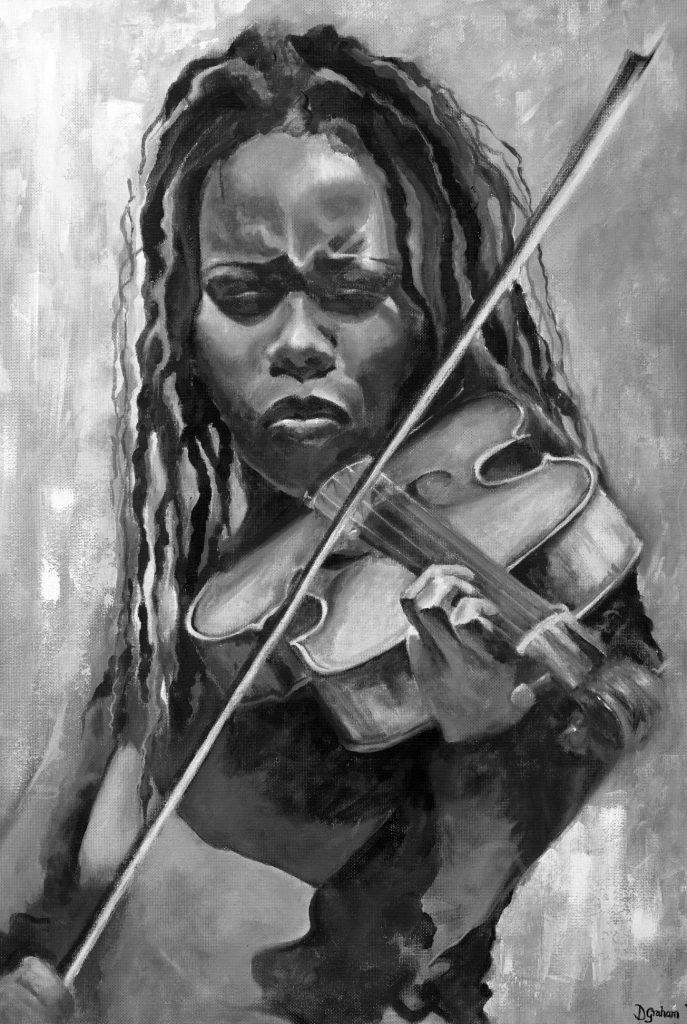 Violin II - Black and White Print